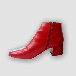 RED VEGAN FAUX LEATHER ANKLE BOOTS